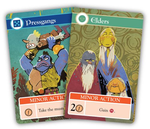 Cards from Oath the Board Game: Pressgangs and Elders; art by Kyle Ferrin