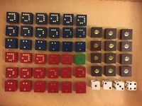 All of the blocks and dice from the Gamma Two 2nd Edition, 1975