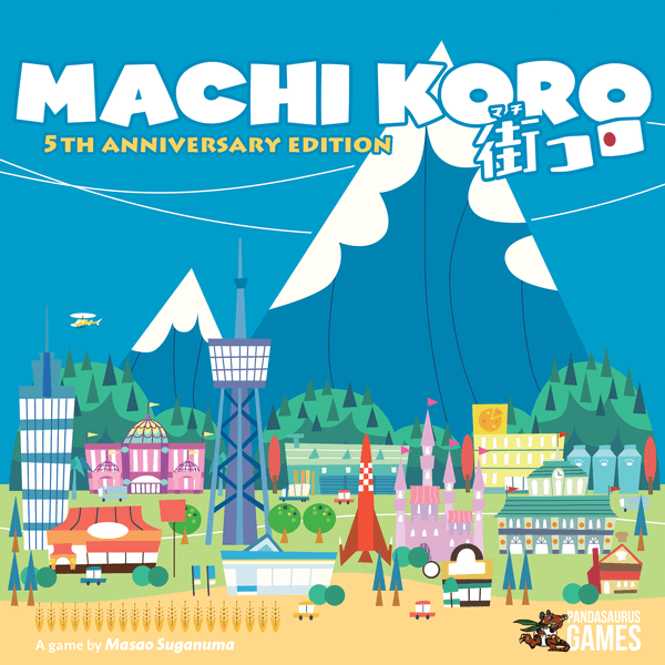 Machi Koro 5th Anniversary, Pandasaurus Games, 2019 — front cover (image provided by the publisher)