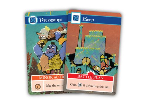 Cards from Oath the board game: Pressgangs and Keep; art by Kyle Ferrin