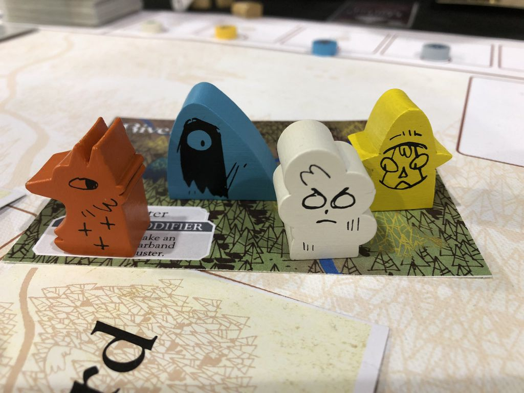 Meeples (player pieces) from Oath the Board Game