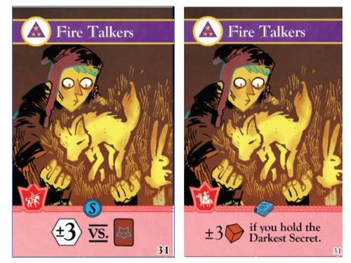 Two iterations of the Fire Talkers card from the Oath board game, art by Kyle Ferrin