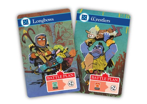 Cards from Oath the board game, Longbows and Wrestlers; art by Kyle Ferrin