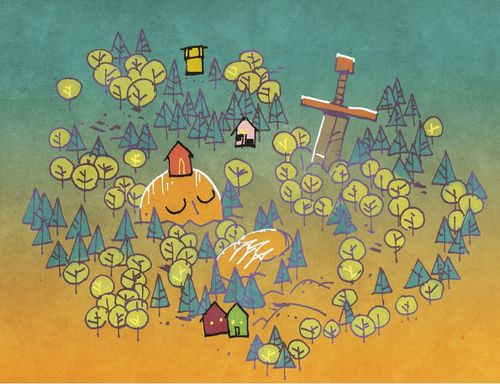 Art by Kyle Ferrin from Oath the board game. A giant sleeping under a hill spotted with trees and houses.