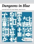 RPG Item: Dungeons in Blue: Geomorph Tiles for the Virtual Tabletop: Mega Tile 07