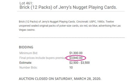 Jerry' Nugget Playing Cards