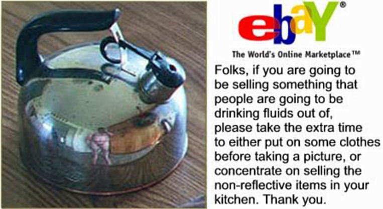 Man naked reflection teapot