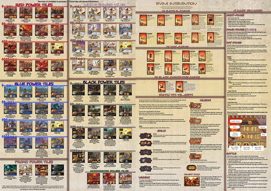 Kemet(incl. Ta-Seti) 2-page, Quick guide, All 4 Power Tiles Colors ...
