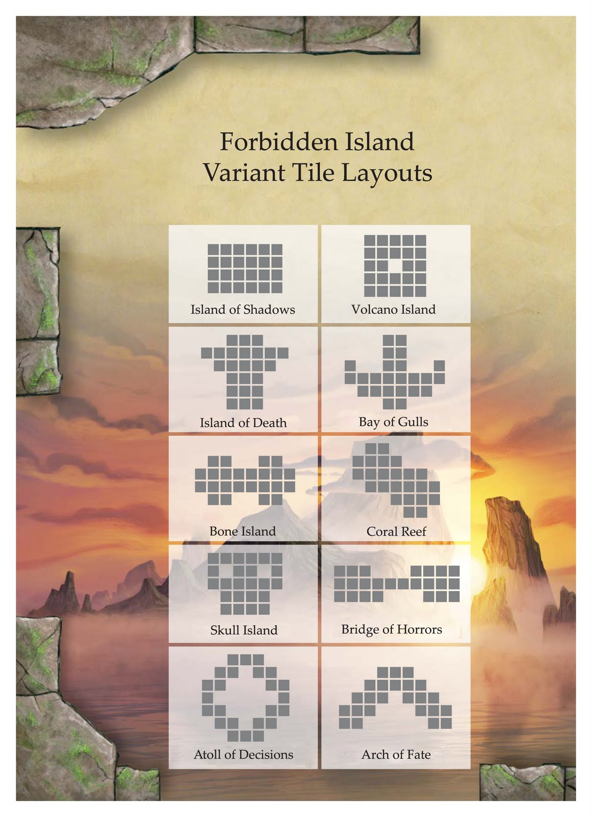 Official Variant Tile Layouts   Forbidden Island   BoardGameGeek