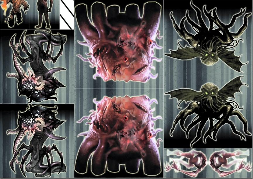 Paper Minis and 2D Scenes of Horror for Strange Aeons