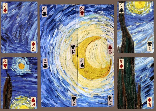 starry night puzzle playing cards