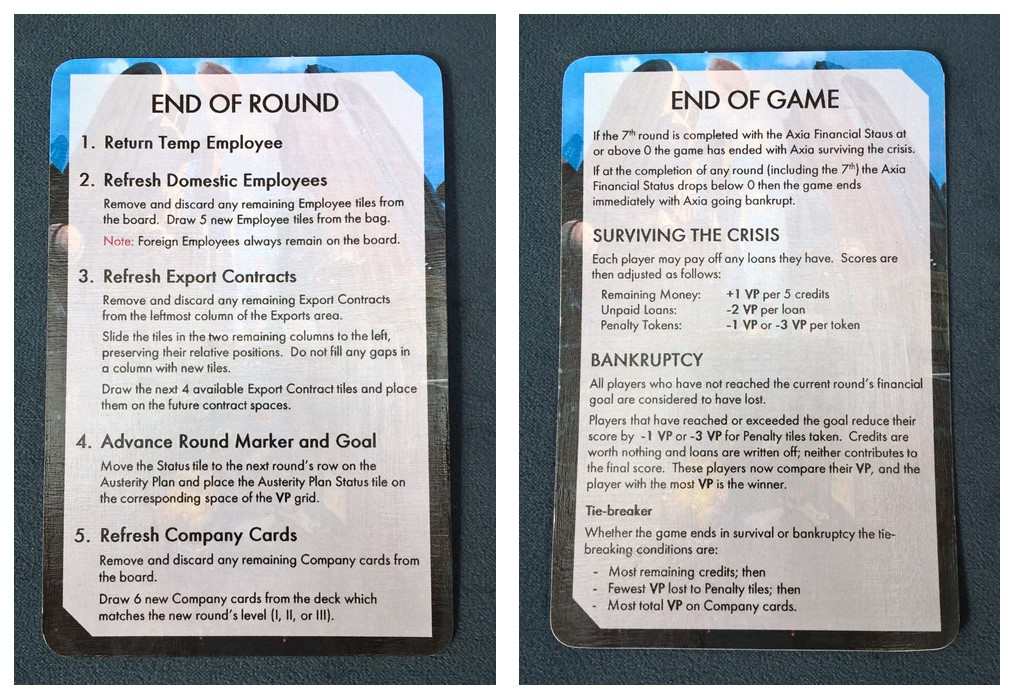 End of Round and End of Game Reference Card | Crisis | BoardGameGeek