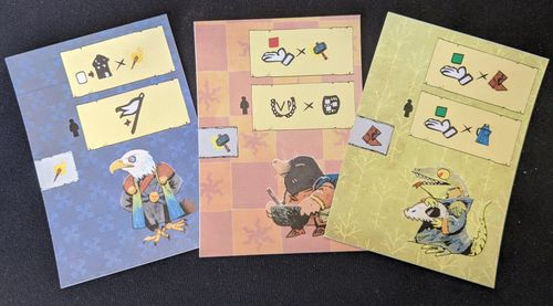 early prototype cards featuring art from the Root board game