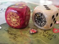 A close-up of Chessex custom dice for Richard III.