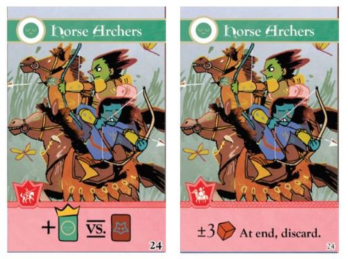 Two iterations of the Horse Archers card, art by Kyle Ferrin