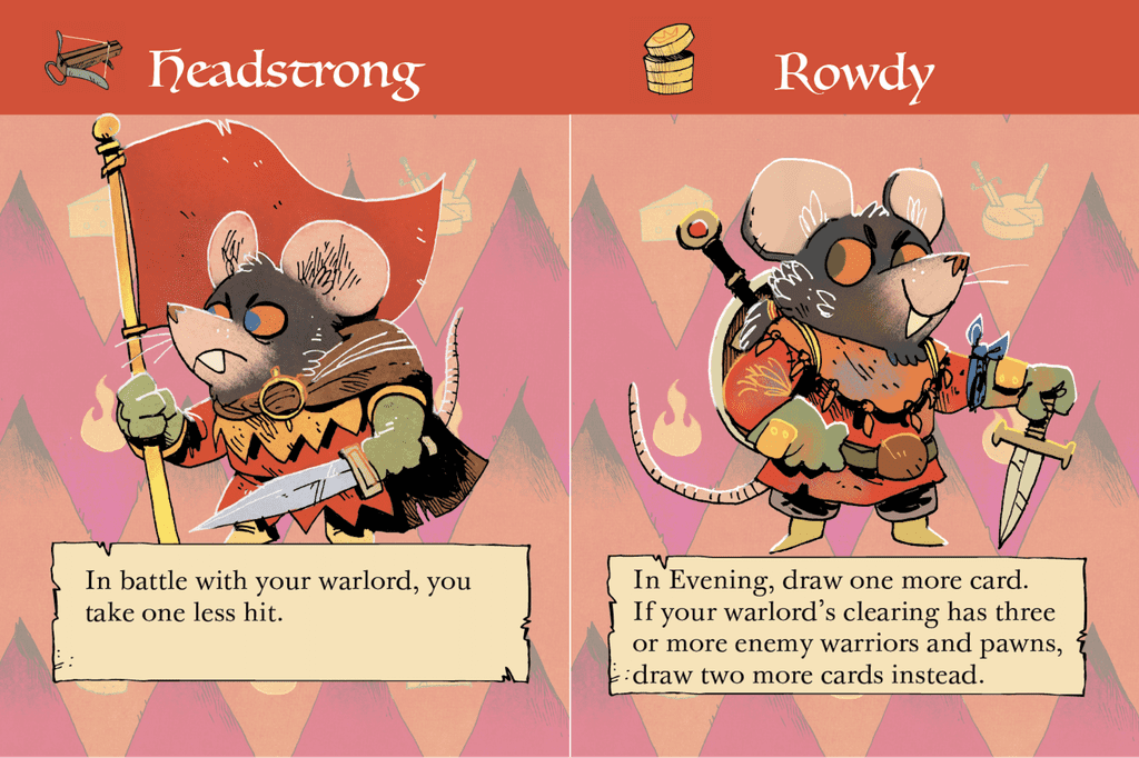 Warlord cards: Headstrong and Rowdy