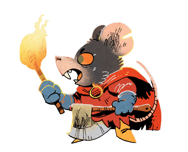 Art of the Warlord by Kyle Ferrin. Angry rat facing left, holding a torch.