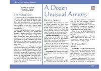 RPG Item: A Dozen Unusual Armors