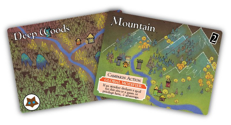Land cards from the Oath board game: Deep Woods and Mountain; art by Kyle Ferrin
