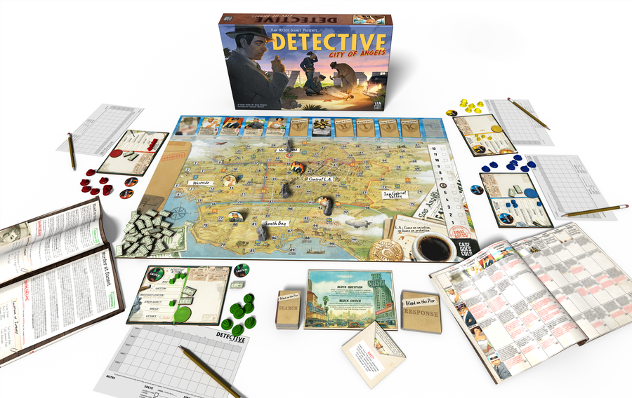 The full game setup for Detective: City of Angels.