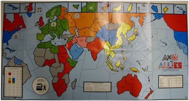 A color map of the world, suitable for playing Axis & Allies, similar to the one below