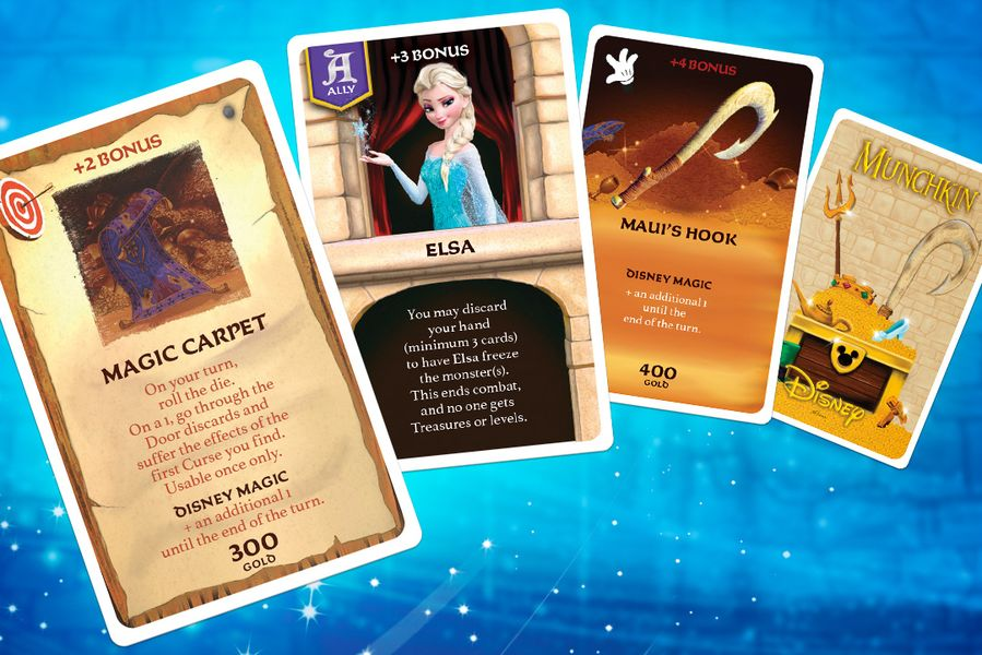 Munchkin: Disney, The Op, 2020 — sample treasure cards (image provided by the publisher)