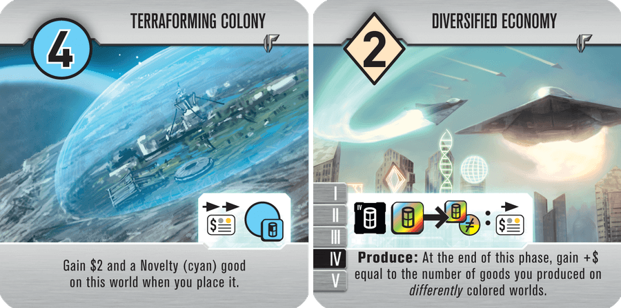 Both sides of the Terraforming Colony/Diversified Economy promo tile.