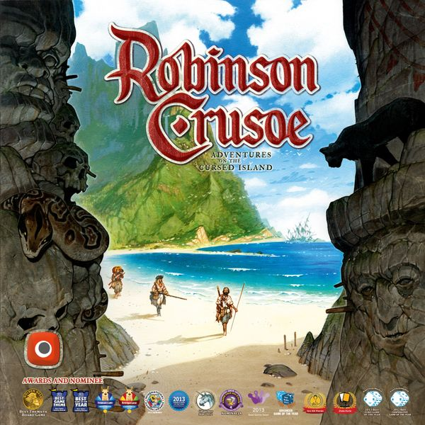 Robinson Crusoe: Adventures on the Cursed Island, Portal Games, 2016 — front cover (image provided by the publisher)