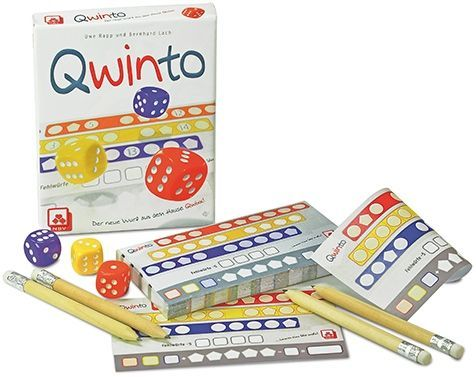 Qwinto, Nürnberger-Spielkarten-Verlag, 2015 — box and components (image provided by the publisher)