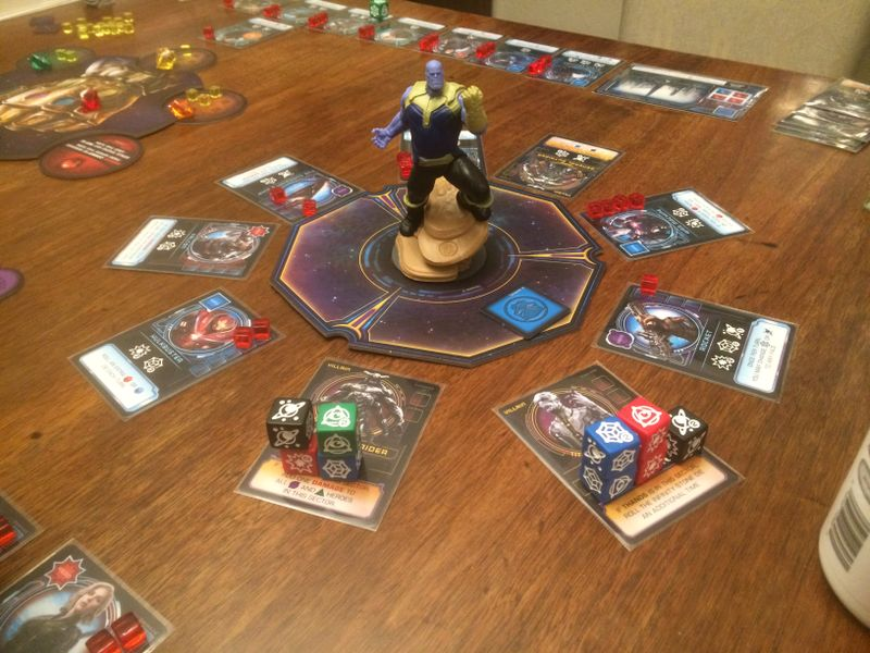 The final two, I had 11 dice to roll with tokens, tripped two enemies... it was great... poor Thanos, not this time
