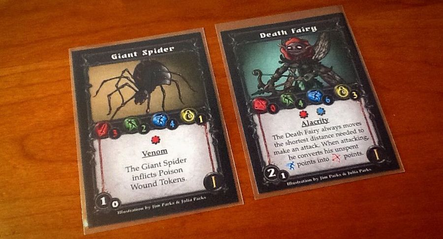 Giant Spiders inflict poison wounds. Heroes gain an extra poison wound at the end of each round where they have at least 1 poison wound present. Death Fairies can use unspent movement as their overall range attack strength.