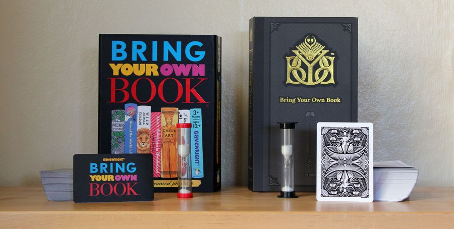 A comparison of two versions of Brind Your Own Book, with sand timers, cards, and boxes displayed.