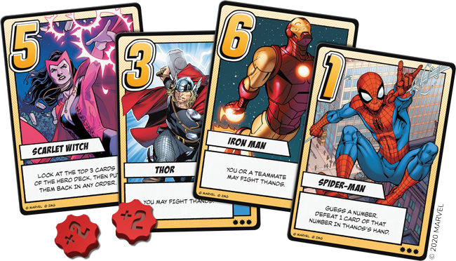 Infinity Gauntlet: A Love Letter Game - heroes cards and tokens