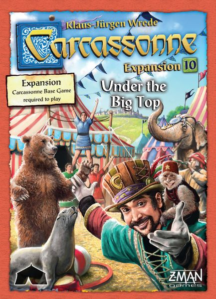 Carcassonne: Under the Big Top, Z-Man Games, 2017 — front cover (image provided by the publisher)