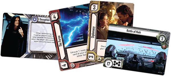 Sample strategy (card 1), resource (cards 2 and 3), and event (card 4) cards.