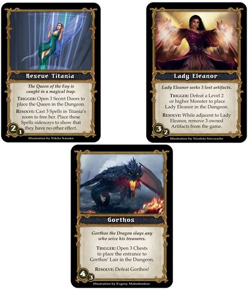 Newly introduced Quest cards. Can be used in solo/cooperative play, competitive play, as well as in campaign mode.