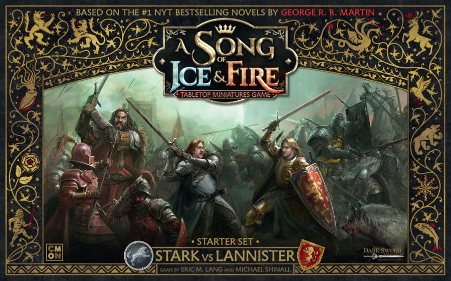 A Song of Ice & Fire: Tabletop Miniatures Game – Stark vs Lannister Starter Set, CMON Limited, 2018 — front cover (image provided by the publisher)