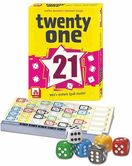 Twenty One, Nürnberger-Spielkarten-Verlag, 2017 — box and components (image provided by the publisher)