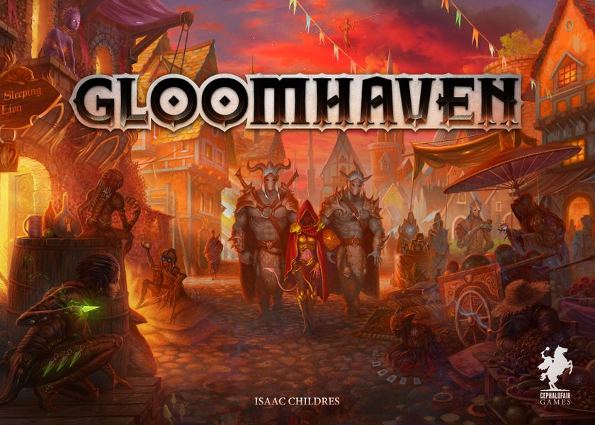 Official box front for Gloomhaven with design elements