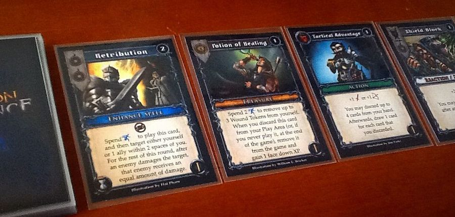 Upgrade cards come in many different types. A hero is limited to playing one of each type of card per turn of a round.