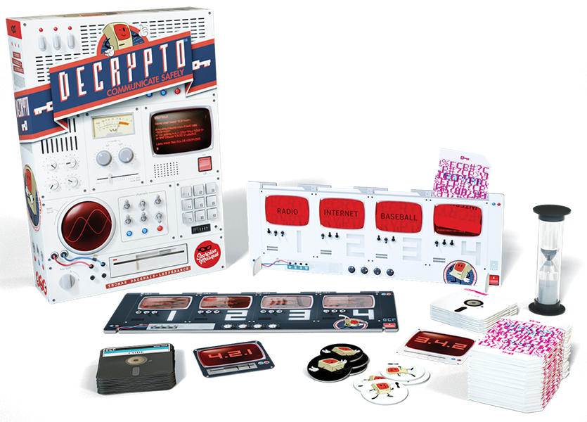 Decrypto, Le Scorpion Masqué, 2018 — box and components (image provided by the publisher)