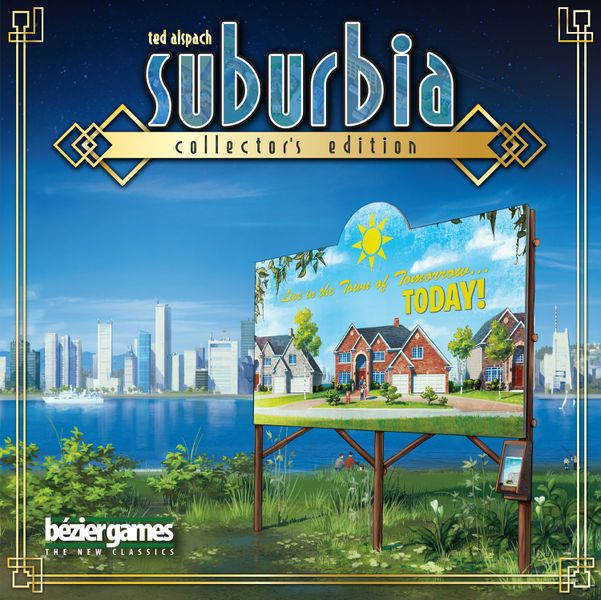 Suburbia: Collector's Edition, Bézier Games, 2019 — front cover (image provided by the publisher)