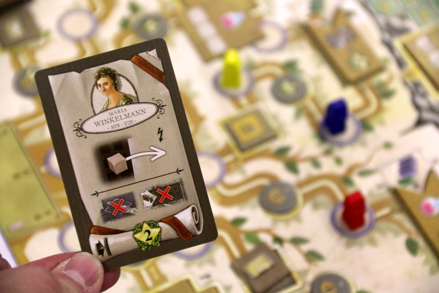Each round, every player plays five cards from their hand, with each played card allowing the player to perform one of the game's actions @ Spiel'18 in Essen