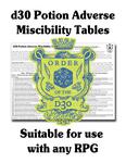 RPG Item: FGM031b: d30 Potion Adverse Miscibility Tables