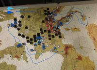 Our First WestFront2 game. Situation June -44. Movement paths.