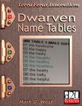 RPG Item: Dwarven Name Tables