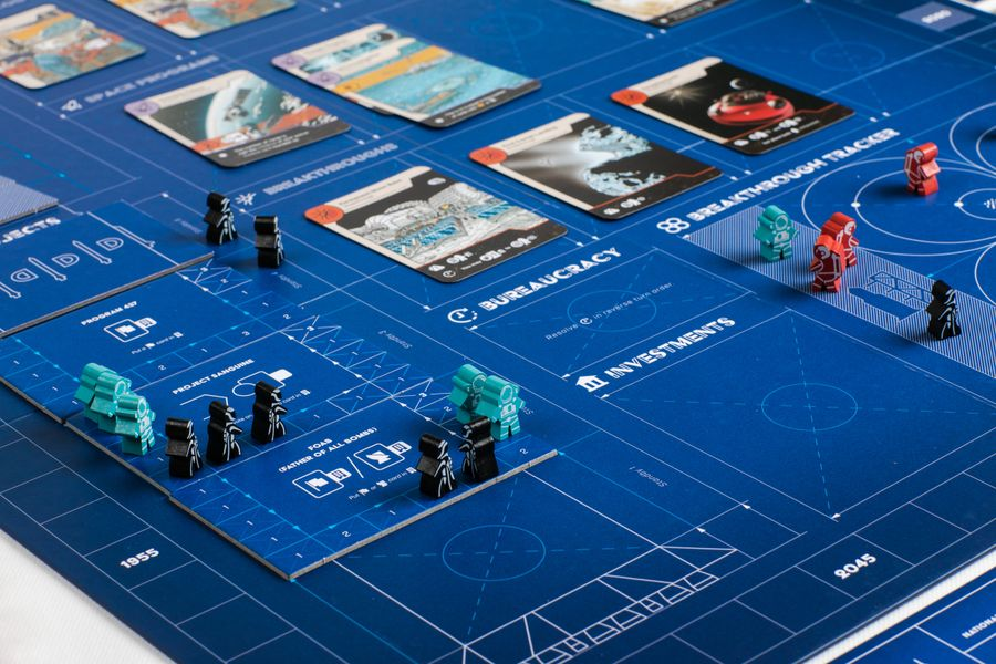 Space Race game in progress with focus on projects