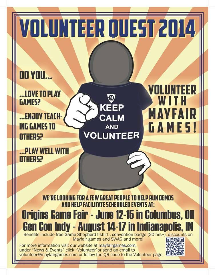 Mayfair needs Origins volunteers   BoardGameGeek   BoardGameGeek