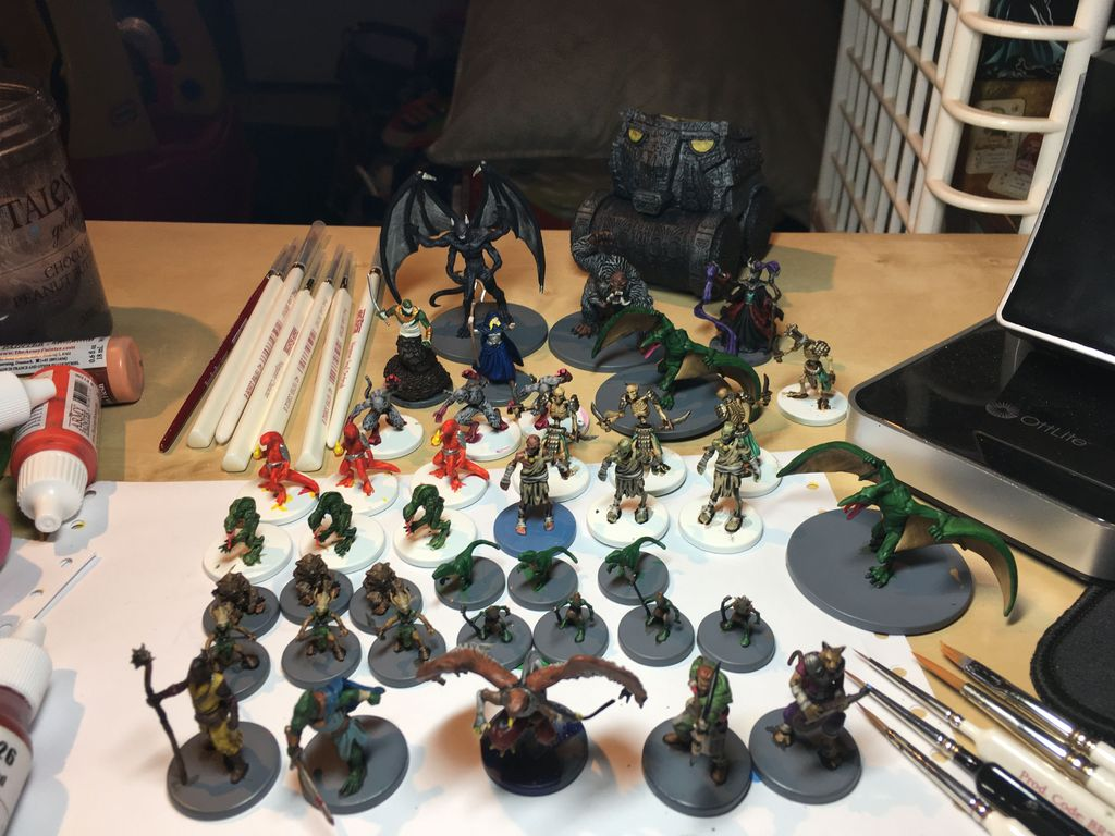 I am still a beginner at painting. This was only my third project, but I'm  pretty happy with the results. I still have to clean up the bases for some  of ...