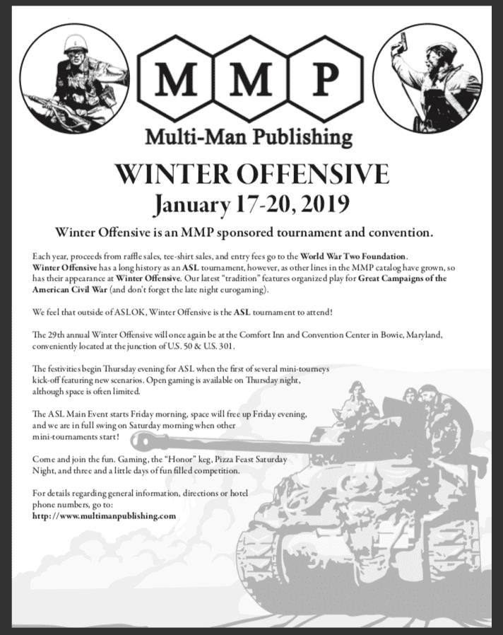 Multi-Man Publishing's Winter Offensive - January 17-20 2019